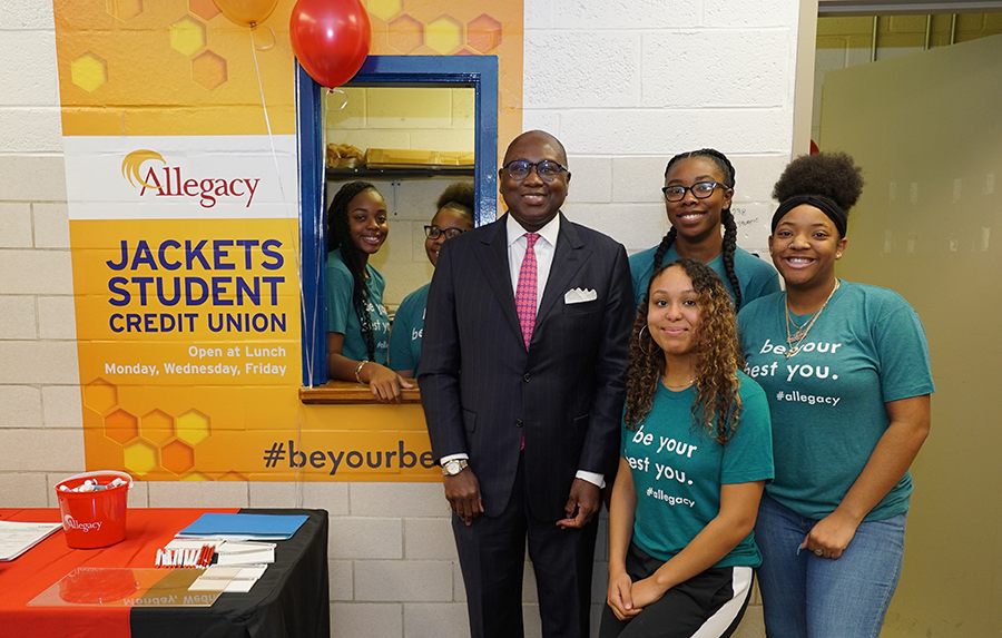 NCUA's Hood meets with Carver HS student's at Allegacy branch