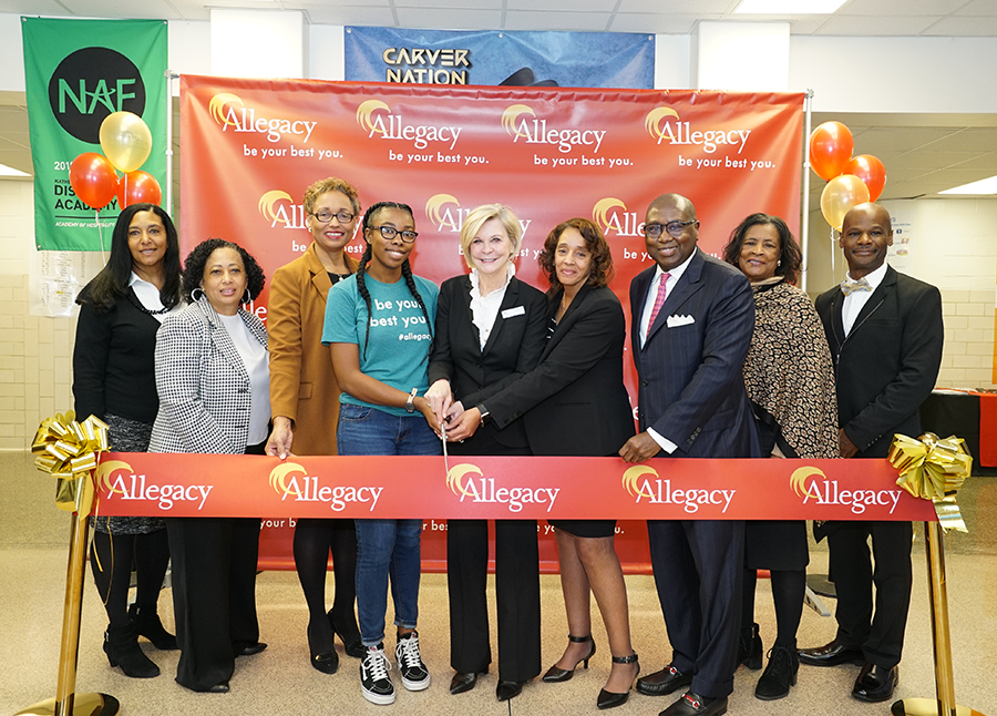 ribbon cutting at Allegacy's Carver HS student-run branch