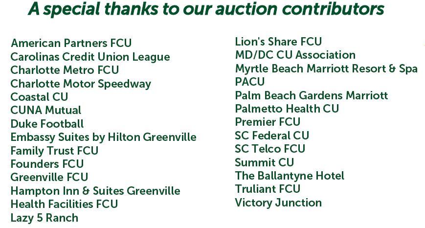 list of 2019 Carolinas Cup auction contributors