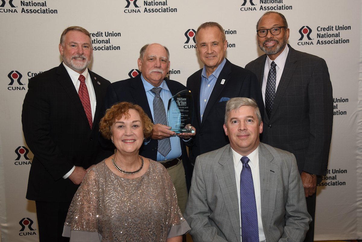 Carolina Foothills staff accepting 2019 CUNA Award