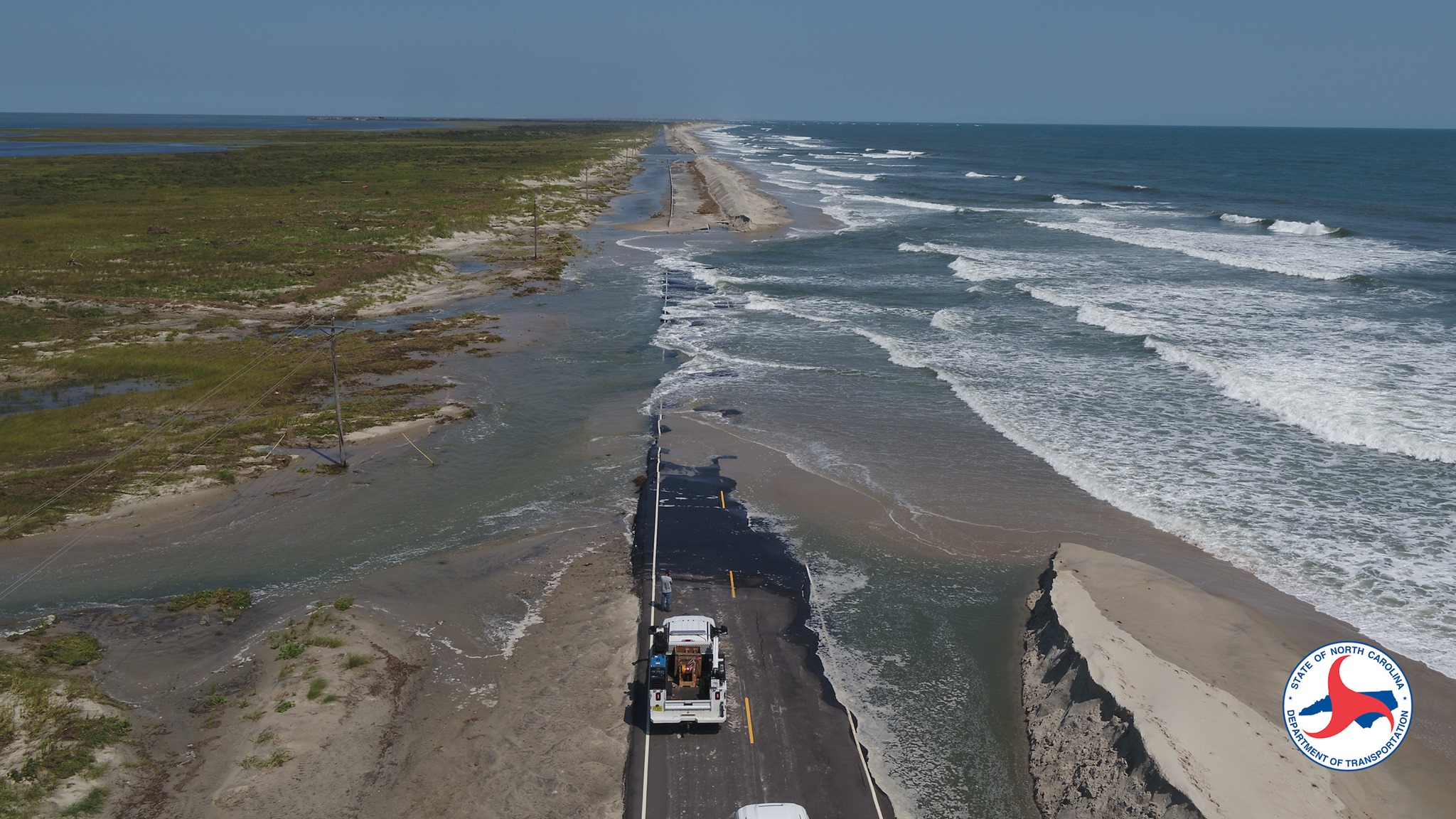 Image of damage to Ocracoke Island after Hurricane Dorian