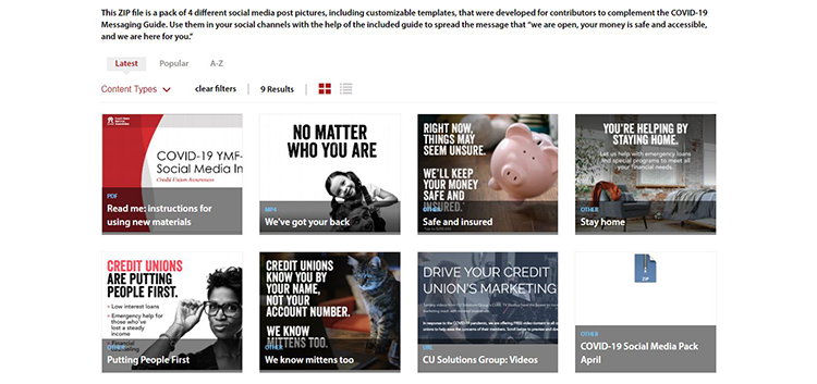 Screenshot of social media graphics available to initiative contributors