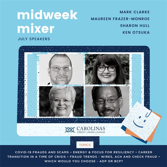 collage of midweek mixer speakers for July 2020