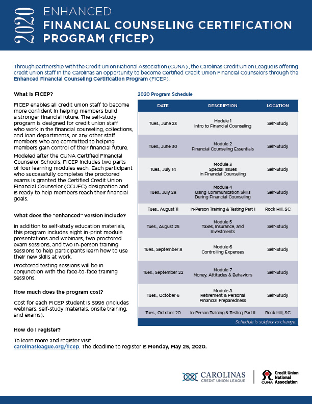 Financial Counselor Certification Program Ficep Returns Spring 2020 Carolinas Credit Union League
