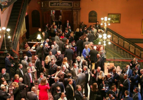 SCGA members mingle in State House lobby
