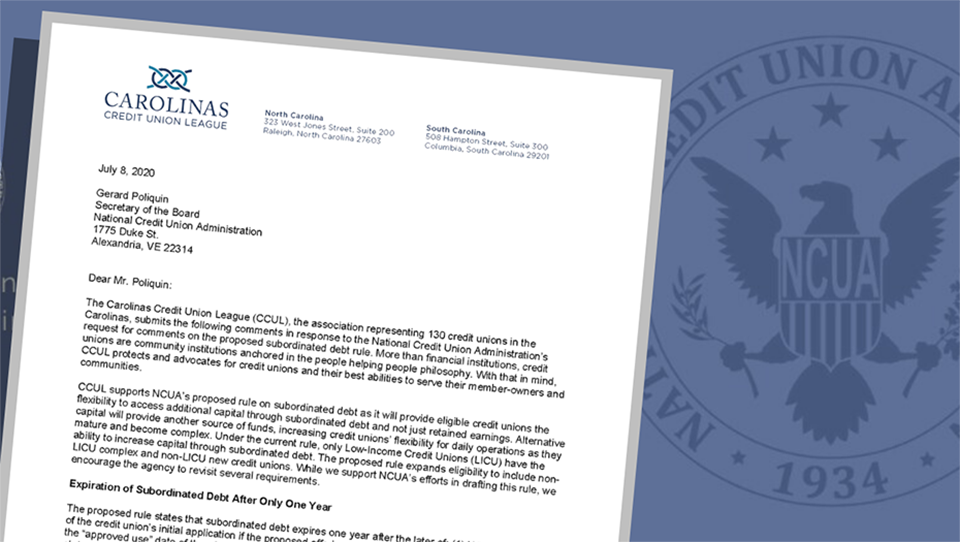 CCUL letter to NCUA on subordinated debt header image