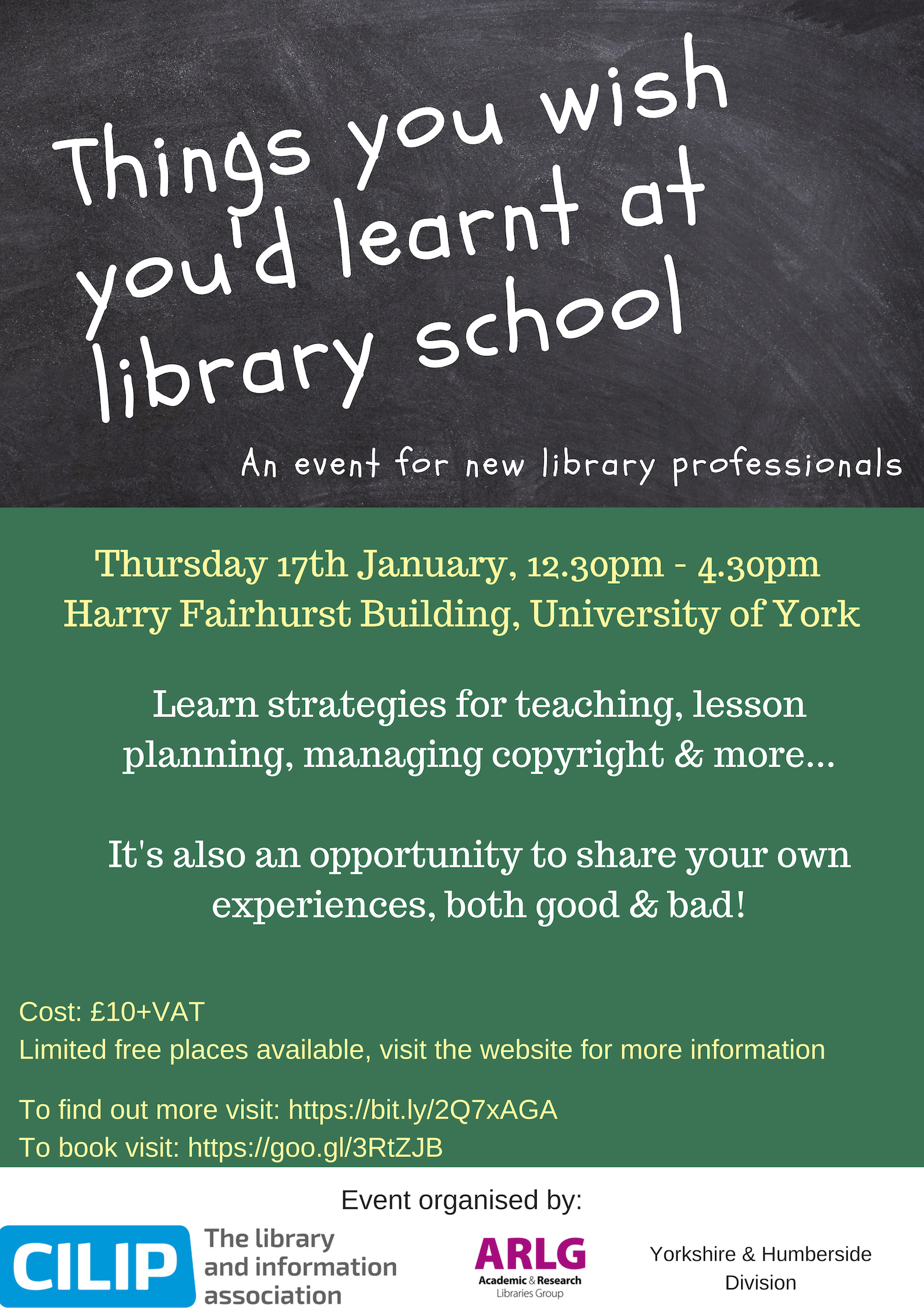 Poster for ARLG Event: Things you wish you'd learned at library school. The textual content of this poster is on this webpage.