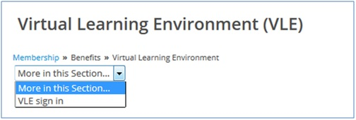 VLE sign in on drop down menu