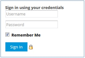 Username and password screen