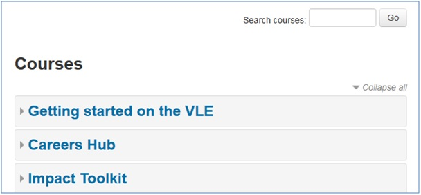 VLE homepage course listing and search box
