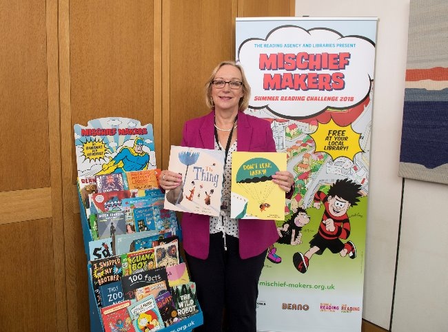 Gill Furniss at launch of Summer Reading Challenge
