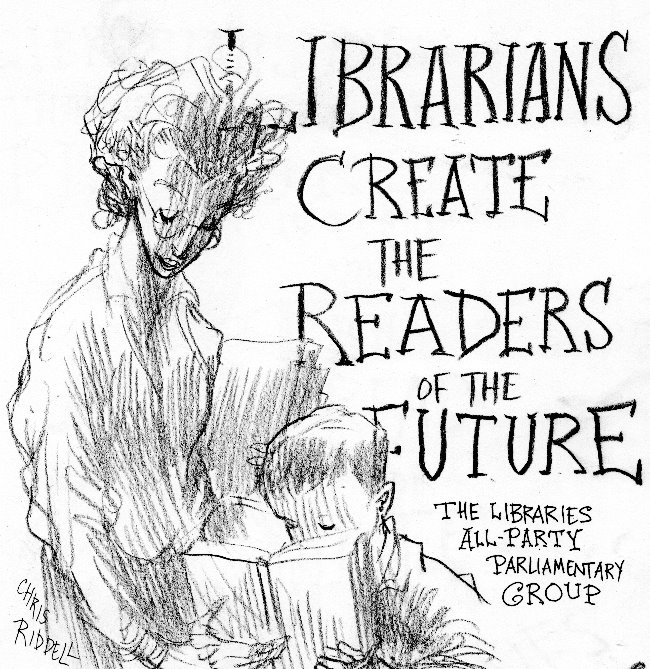 Libraries create the readers of the future illustration by Chris Riddell for the Libraries All Party Parliamentary Group