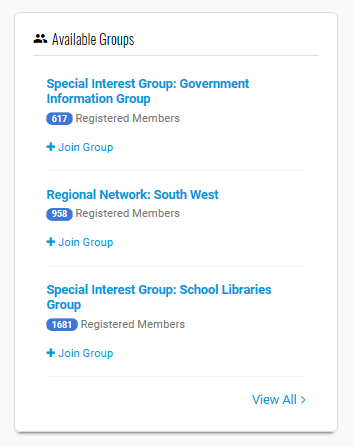 Available groups on SocialLink