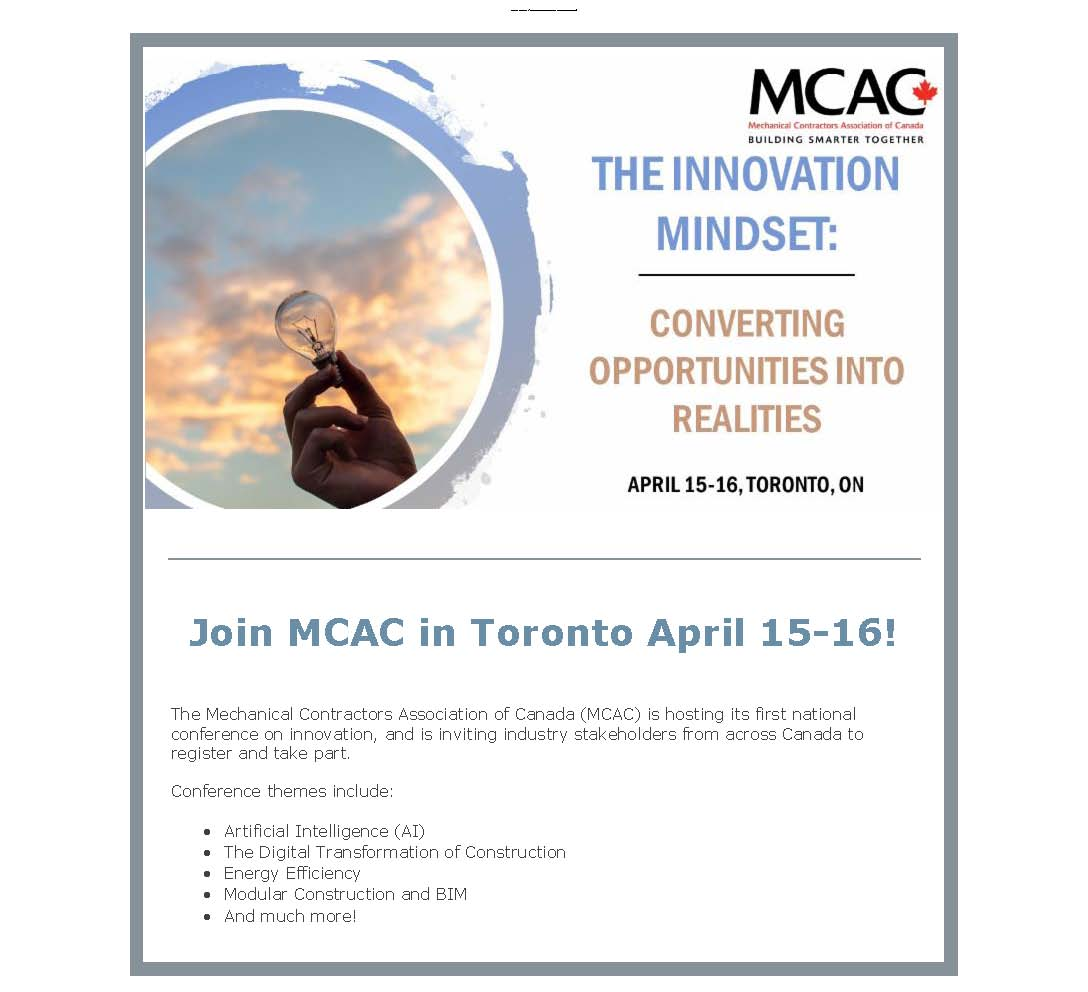Be a Part of MCA Canada's Innovation Conference - Canadian Institute