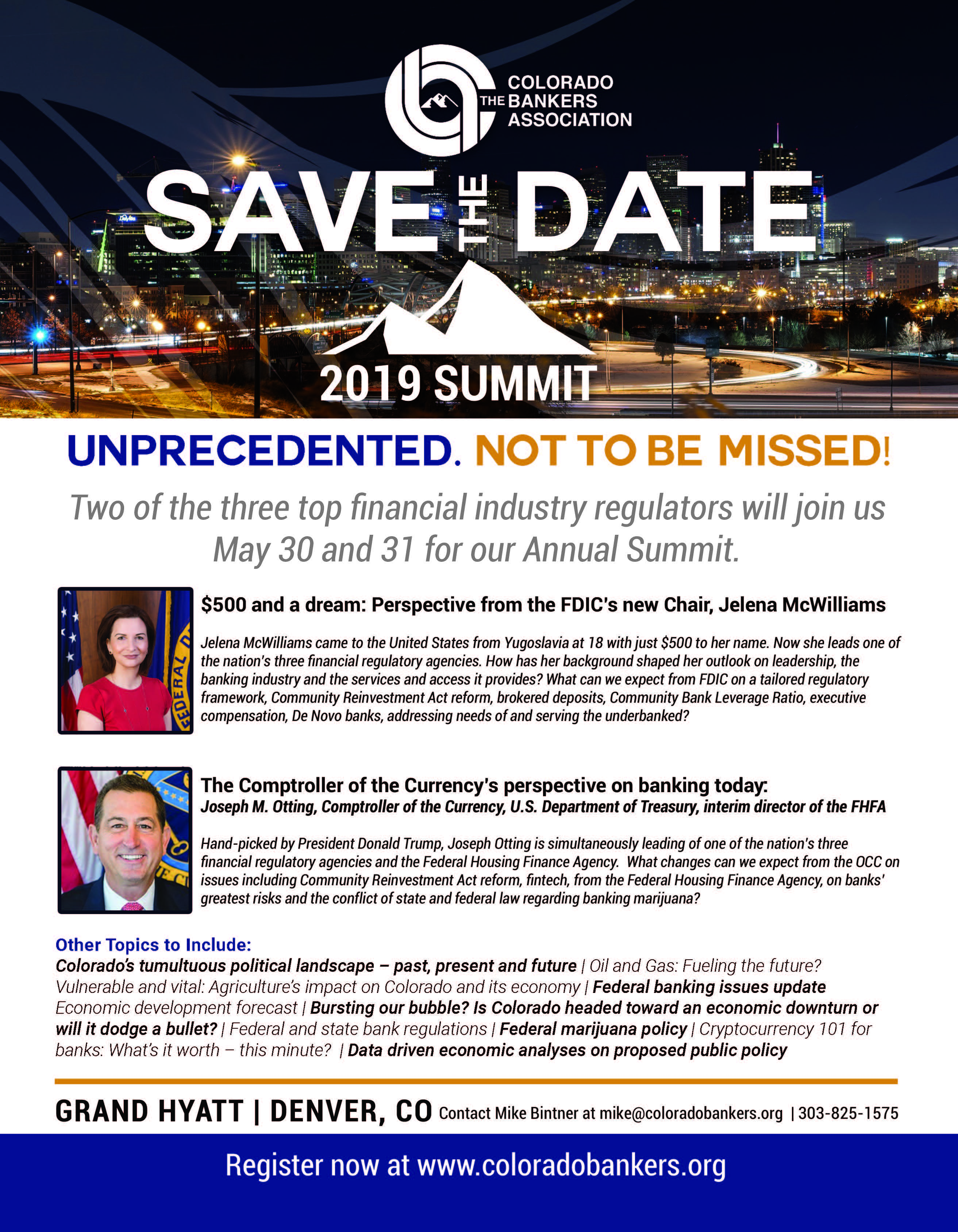 The Comptroller of the Currency and the FDIC Chairman will join CBA for our annual summit on May 30.