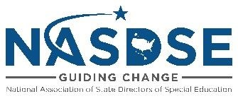 NASDSE logo, black letters with shooting star