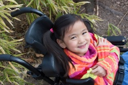 young chinese girl in wheelchair