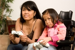 picture of mom and daughter playing a game