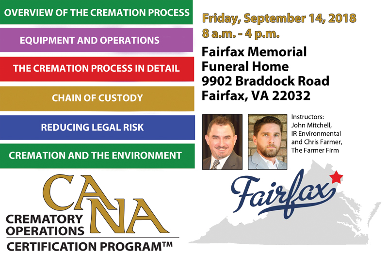 Crematory Operations Certification Program- September 14, 2018- Fairfax, VA