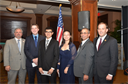 Chris Cyprus (2nd from right), Scholarship Committee Chair, with Doug Shaffer, Past President of Metropolitan Chapter, after presenting scholarship awards to Michael Surovich, Rodrigo Singh, and Kayla Ho. Joining them at far right is US Congressman Lee Zeldin.