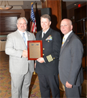 "Doug Shaffer and Doug Swoish present Distinguished Service award to RDML (Select) Frank ""Spanky"" Morley after his talk at 2015 Chapter Scholarship Dinner."