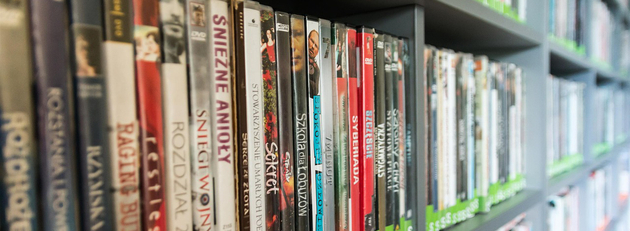 DVDs on shelf