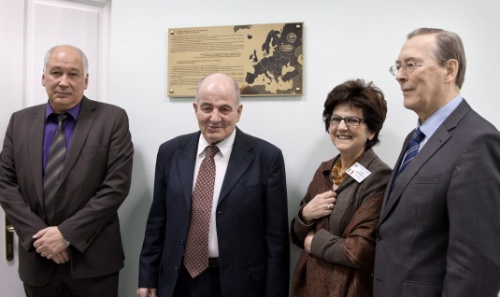 From left to right: A. Olchevski, G. Pontecorvo, L. Cifarelli and V. Matveev | Image credit: EPS