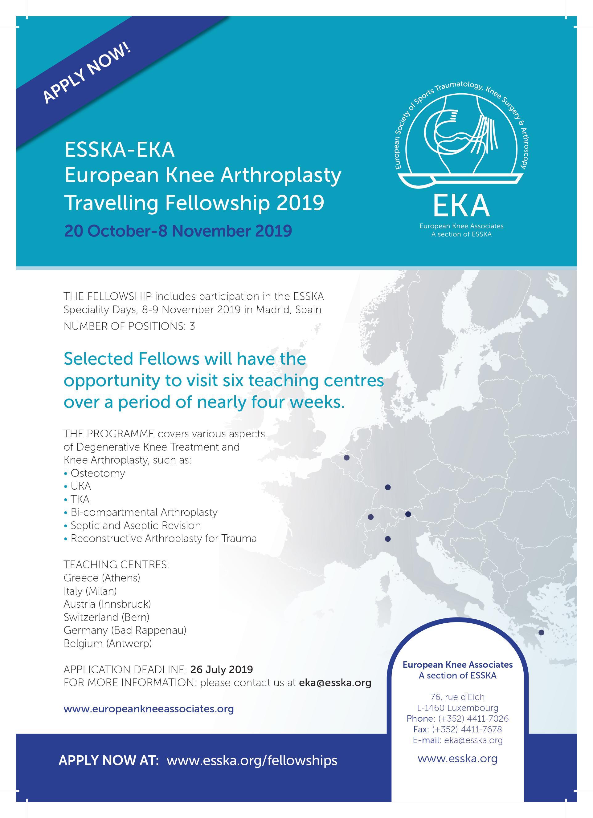 ESSKA-EKA European Knee Arthroplasty Travelling Fellowship 2019