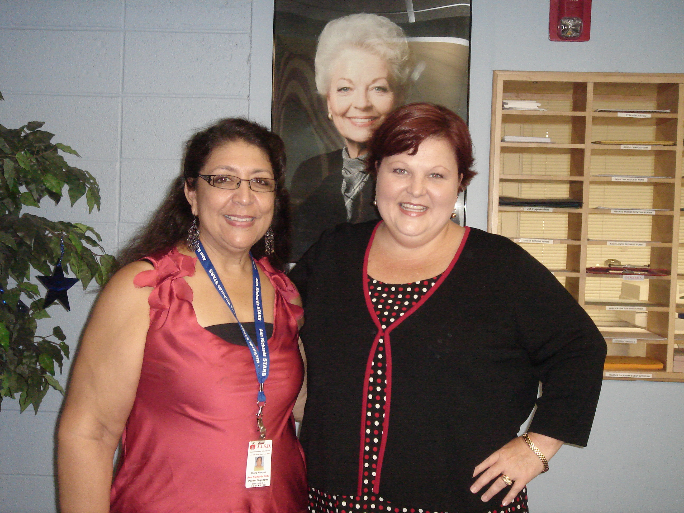 Susan Kirkpatrick and Diana Nenque at Ann Richard's School
