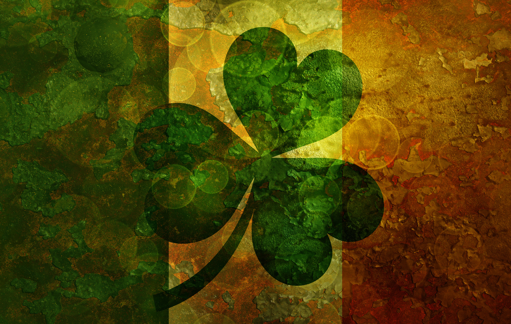 shamrock on Irish flag
