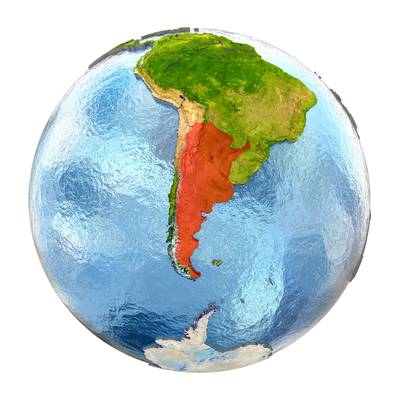 Globe with Argentina highlighted in red