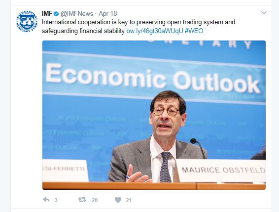 Twitter snip from IMF