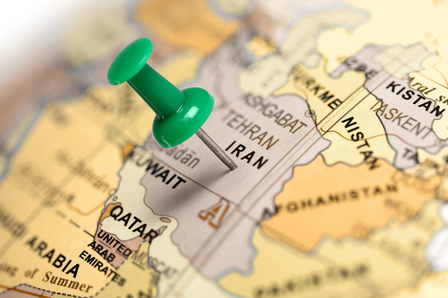 pin in map on Iran