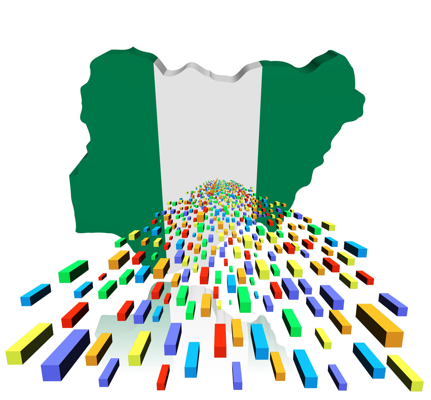Nigeria map reflected with containers illustration