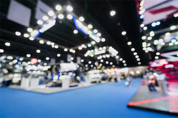 Blurred image of trade show hall