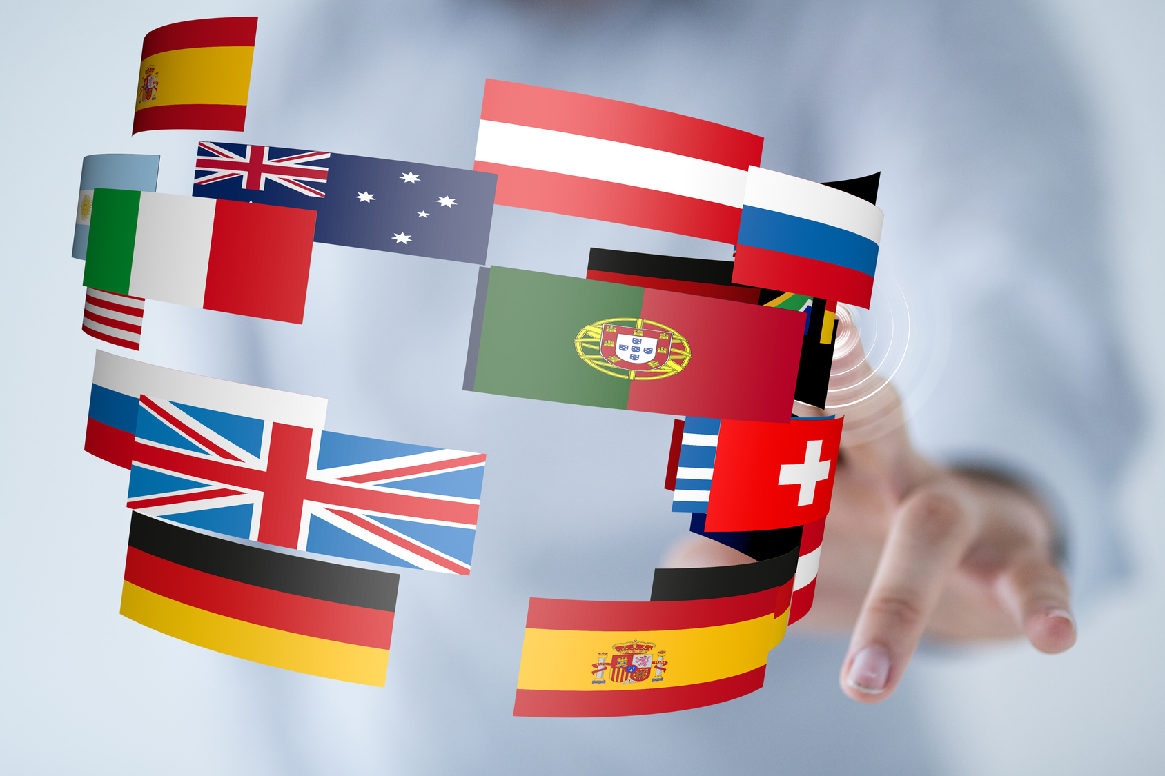 world flags and hand