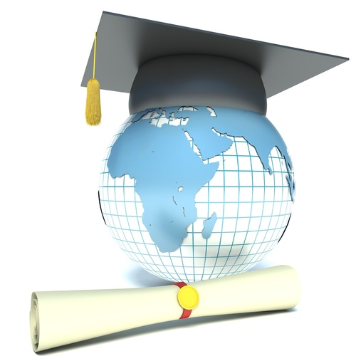 image of globe with mortar board and diploma