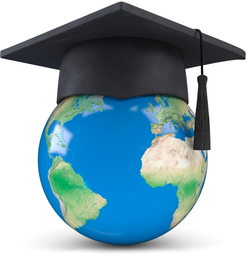Globe Wearing A Mortar Board