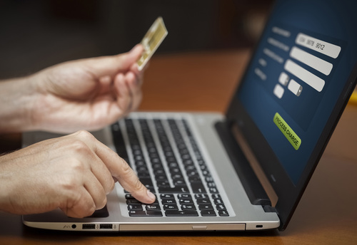 Person Making an Online Card Payment