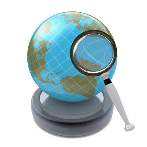 Globe and a Magnifying Glass