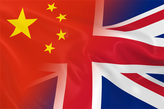 Chinese flag and Union Jack