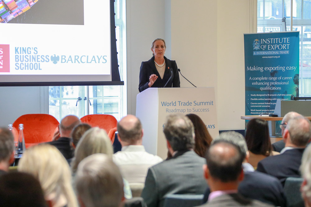 Baroness Fairhead speaking at the 2018 summit
