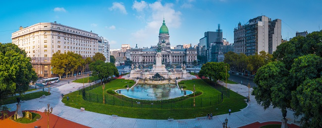 Panorama of the city of Buenos Aires. Aerial panorama of the square near Congreso at sunny day