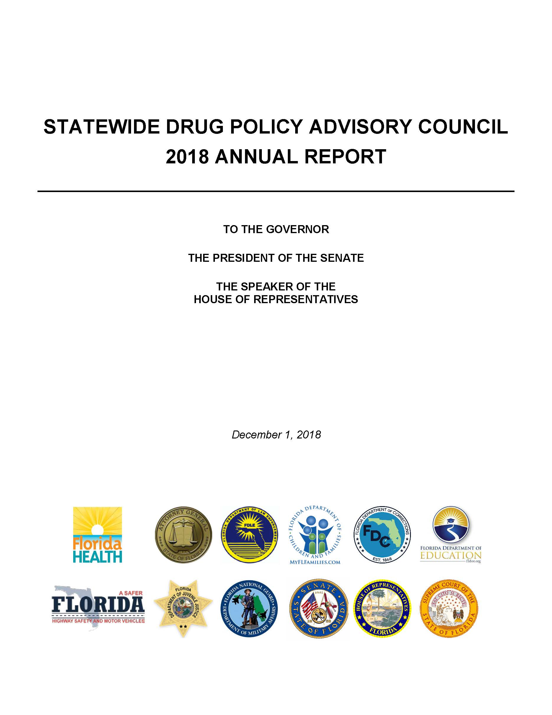 2018 Florida Drug Policy Advisory Council Annual Report - Cover