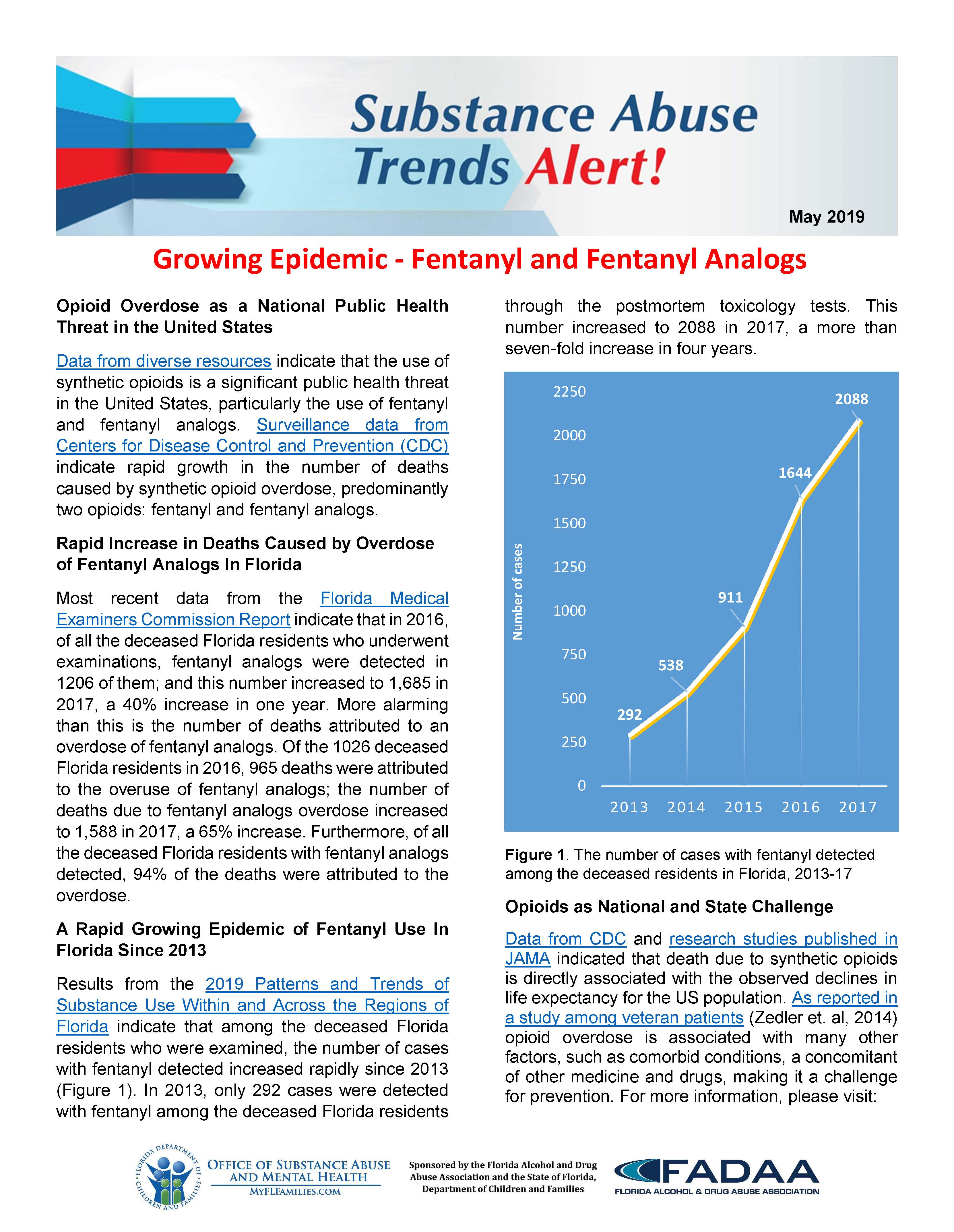 FADAA Substance Abuse Trends Alert May 2019 - Growing Epidemic - Fentanyl and Fentanyl Analogs - Cover