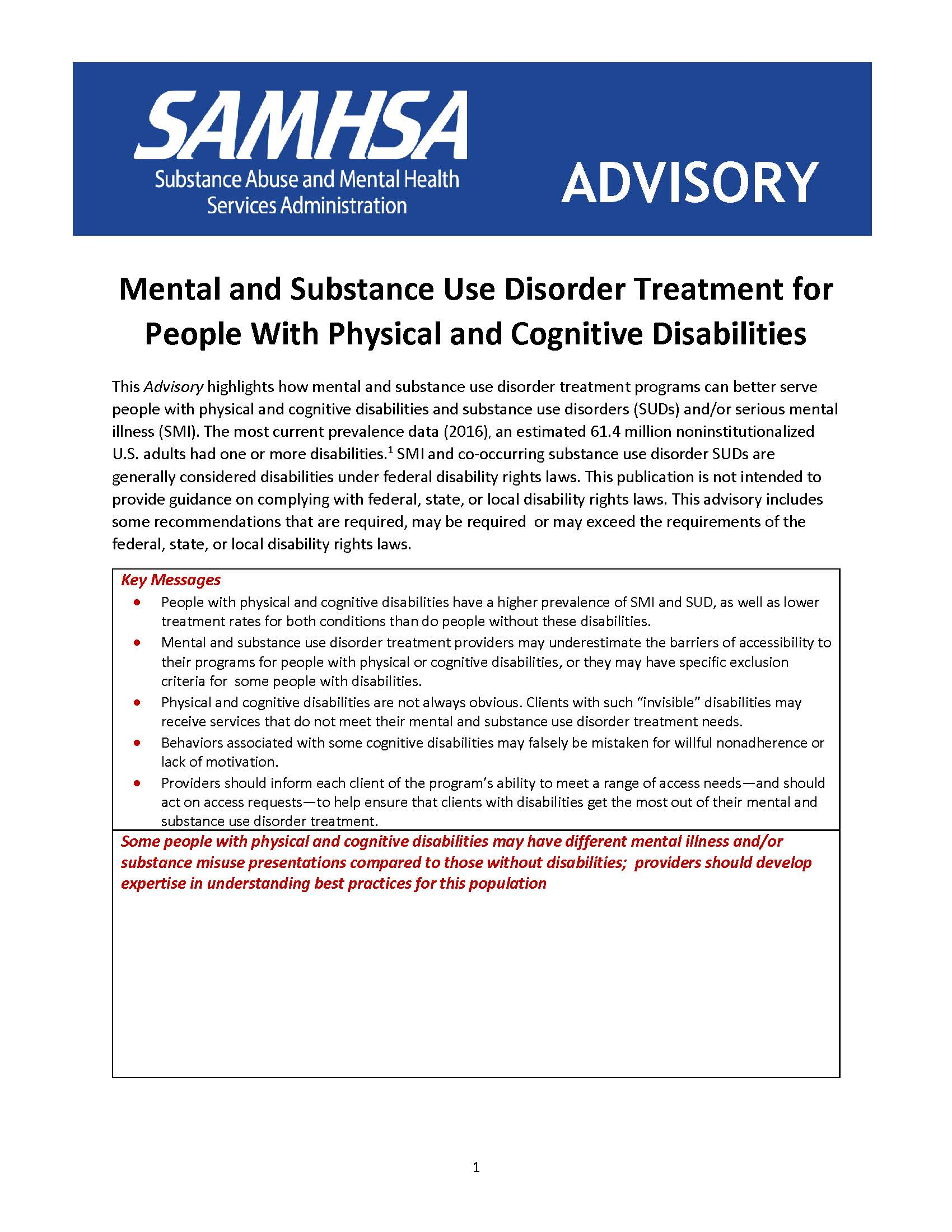 Mental and Substance Use Disorder Treatment for People With Physical and Cognitive Disabilities - Cover