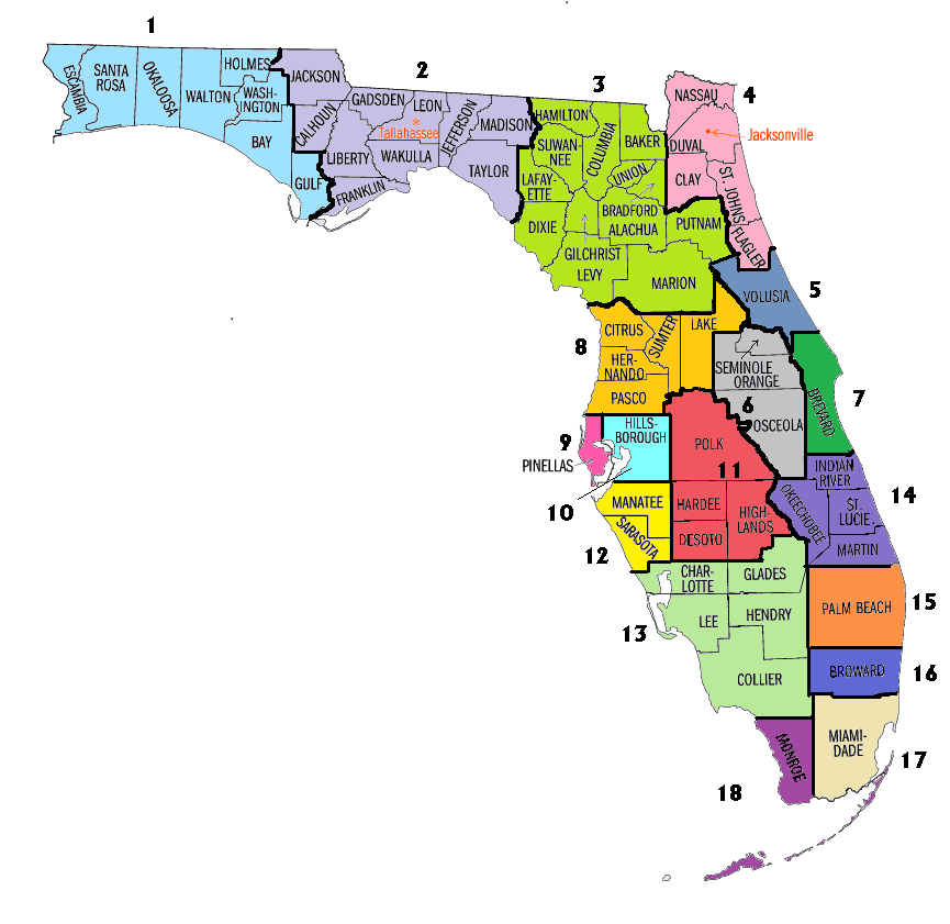 County Breakdown Of Local Societies Florida Optometric Association: Map Of West Central Florida Counties At Usa Maps