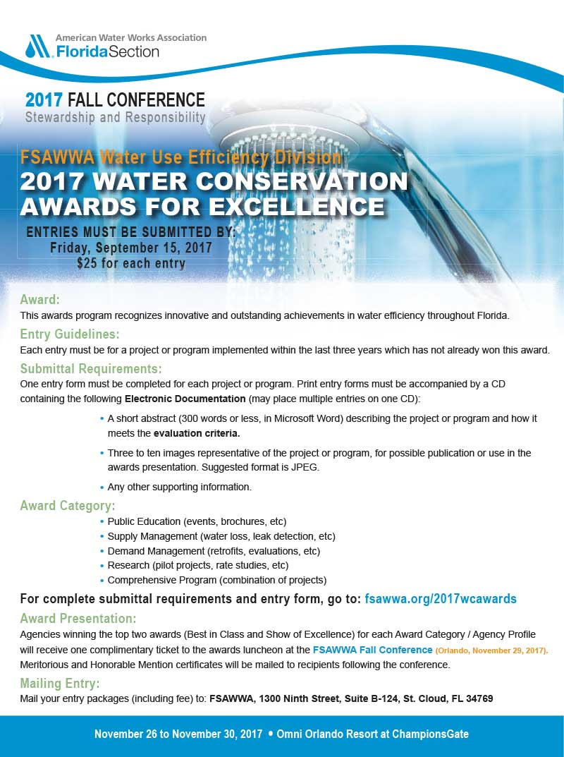 2017 water conservation awards florida section of the american past award for excellence winners falaconquin
