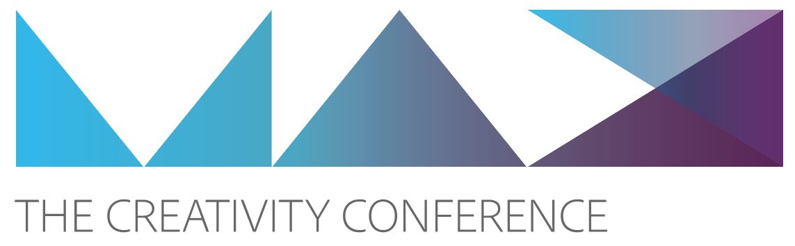 Adobe Max logo with multi-colored triangles. Text says The Creativity Conference