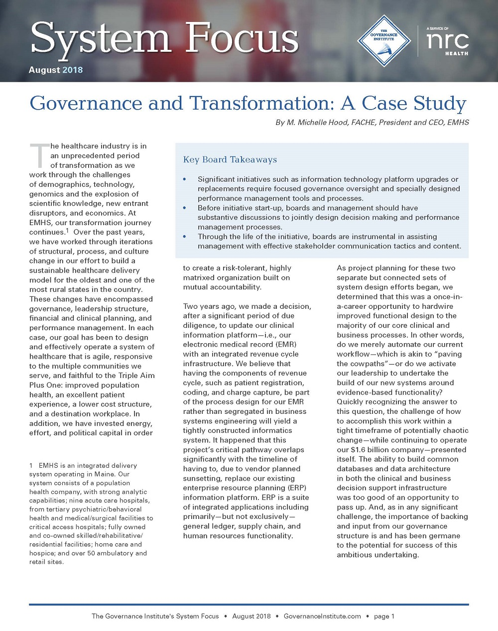 system focus articles the governance institute